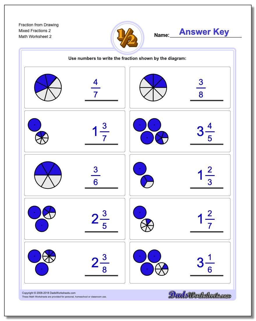 Fraction Worksheet from Drawing Mixed Fractions 2 www.dadsworksheets.com/worksheets/graphic-fractions.html