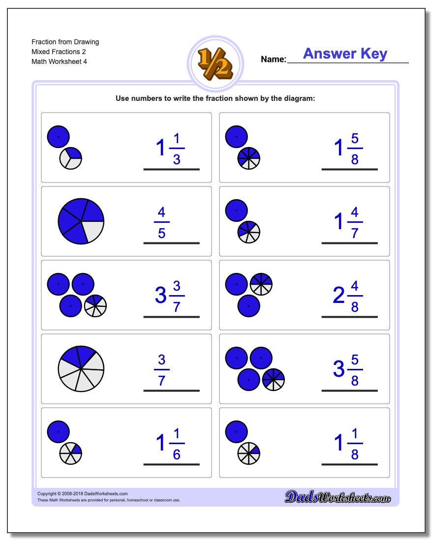 Fraction Worksheet from Drawing Mixed Fractions 2