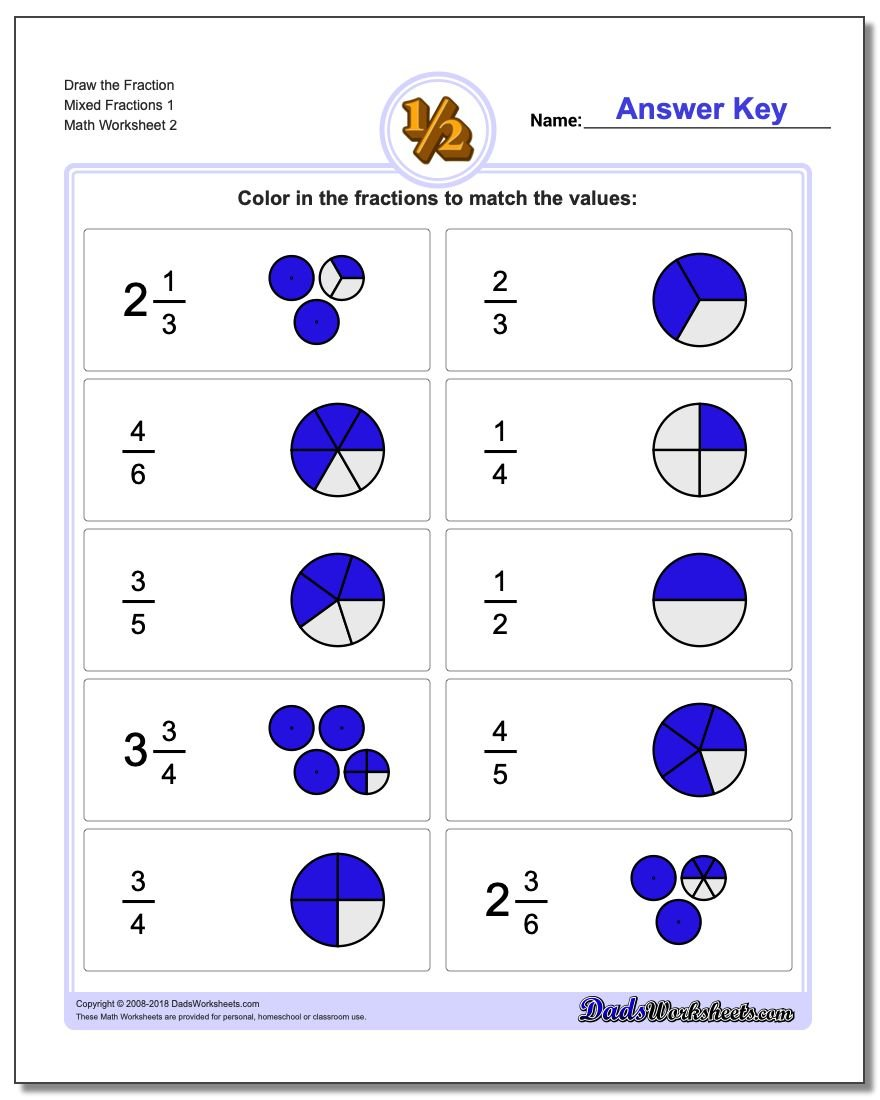 Draw the Fraction Worksheet Mixed Fractions 1 www.dadsworksheets.com/worksheets/graphic-fractions.html