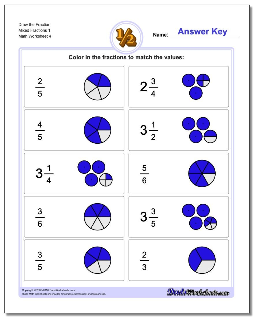 Draw the Fraction Worksheet Mixed Fractions 1