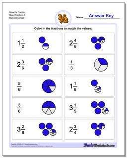 Graphic Fraction Worksheets Draw the Fraction Mixed 1
