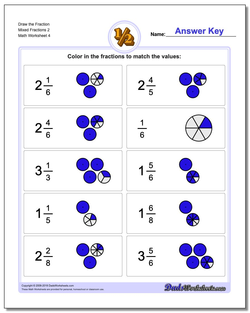 Draw the Fraction Worksheet Mixed Fractions 2
