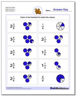 Graphic Fraction Worksheets Draw the Fraction Mixed 2