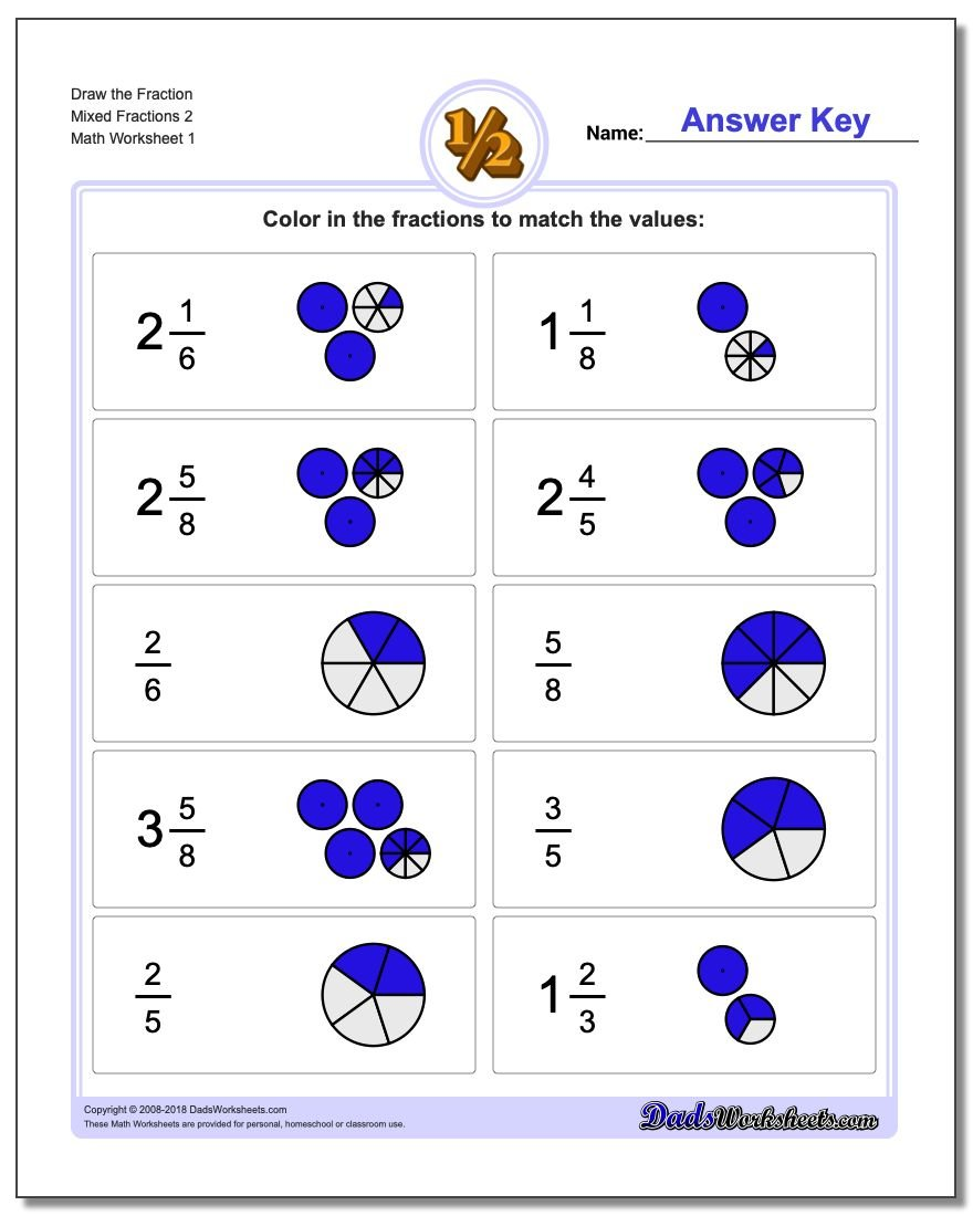 Graphic Fractions Draw Simple Fractions on Fact Family Worksheets