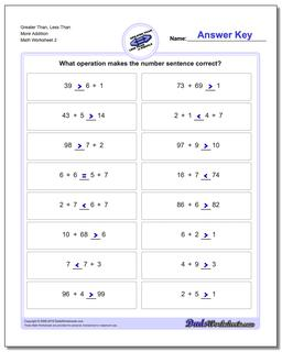 Greater Than, Less Than Worksheet More Addition Worksheet www.dadsworksheets.com/worksheets/greater-than-and-less-than.html