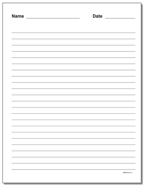 photograph relating to Wide Ruled Paper Printable referred to as Handwriting Paper