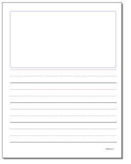 Handwriting Paper Blank Top 1 Inch Rule