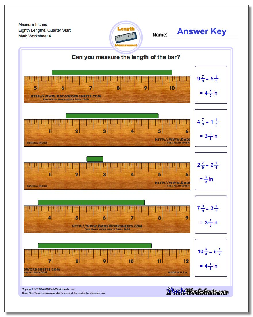 Measure Inches Eighth Lengths, Quarter Start Worksheet