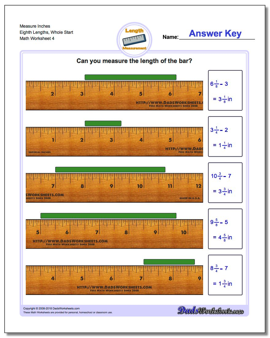 Measure Inches Eighth Lengths, Whole Start Worksheet