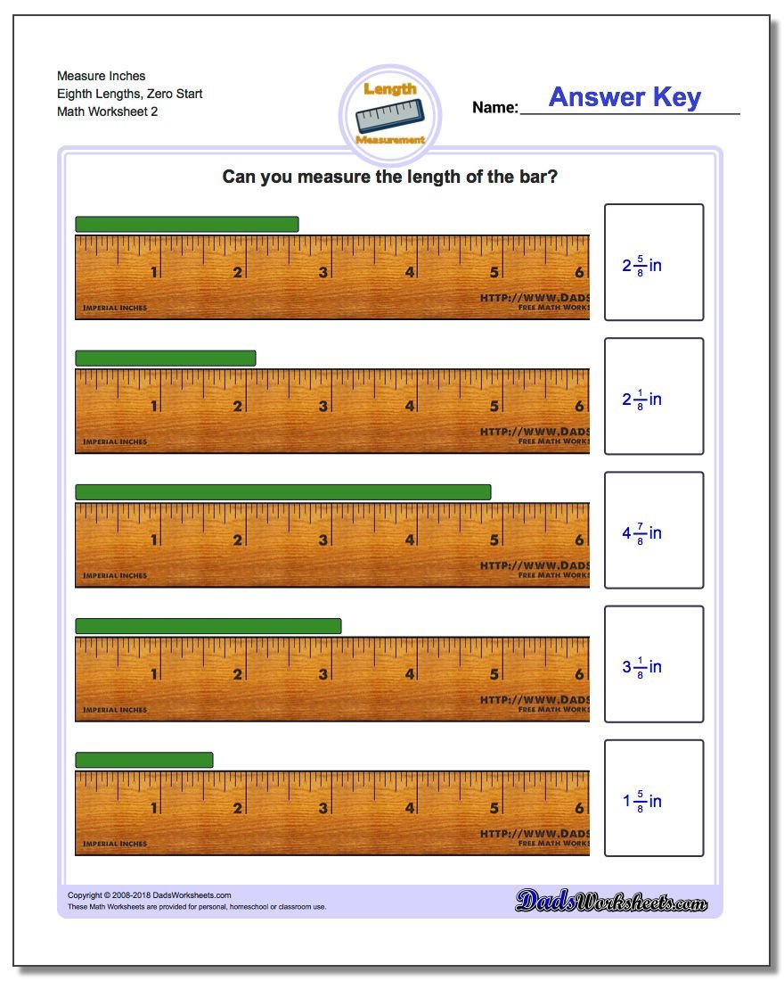 Measure Inches Eighth Lengths, Zero Start www.dadsworksheets.com/worksheets/inches-measurement.html Worksheet