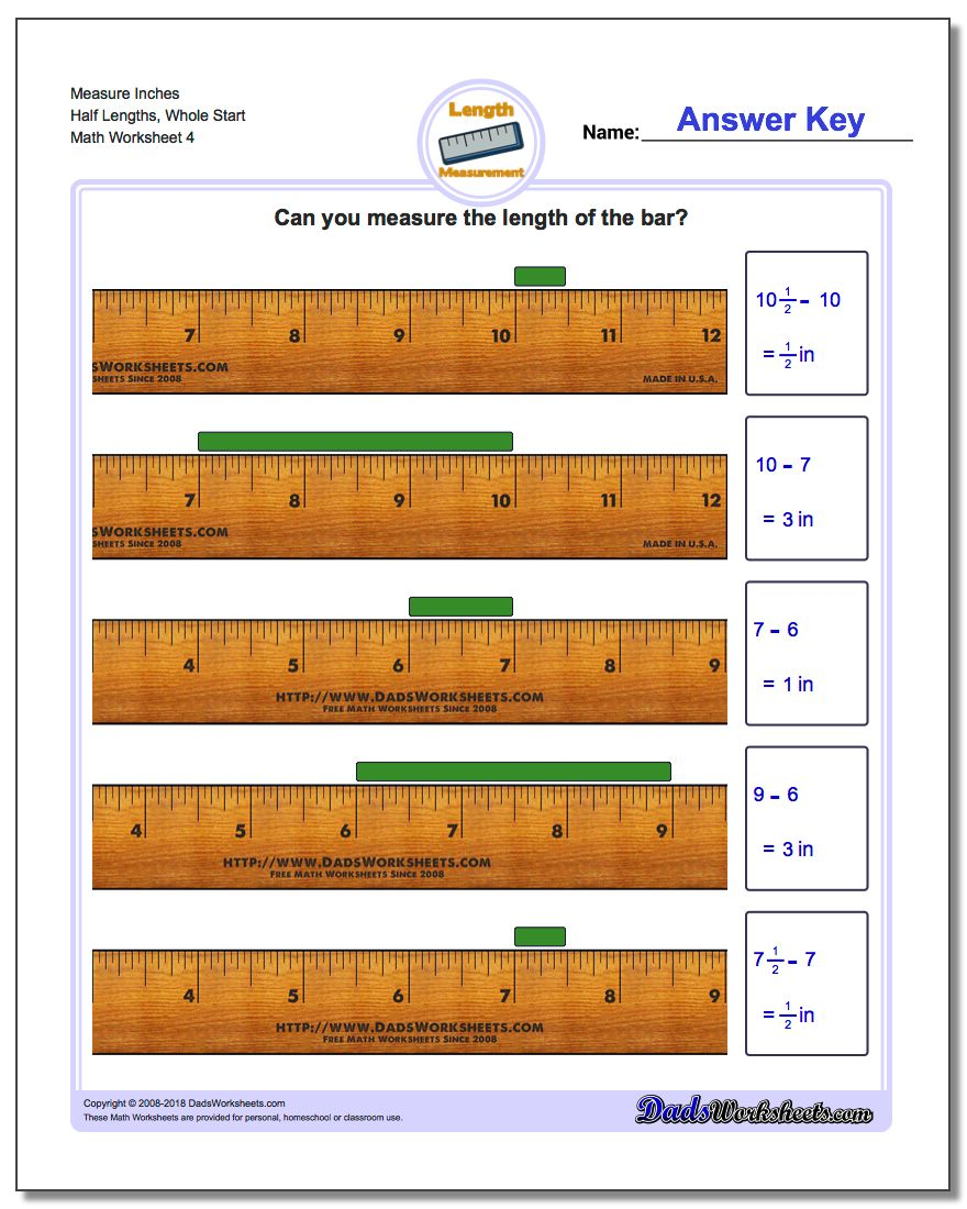 Measure Inches Half Lengths, Whole Start Worksheet