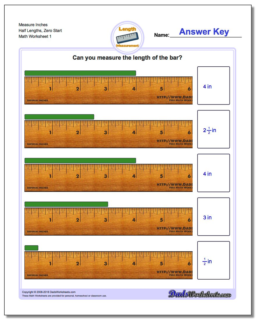Inches Measurement Worksheets Measure Half Lengths, Zero Start