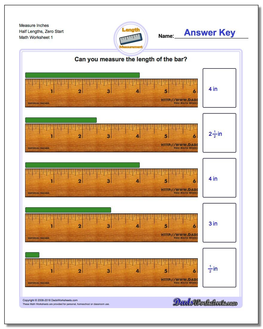 Inches Measurement Worksheet Measure Half Lengths, Zero Start