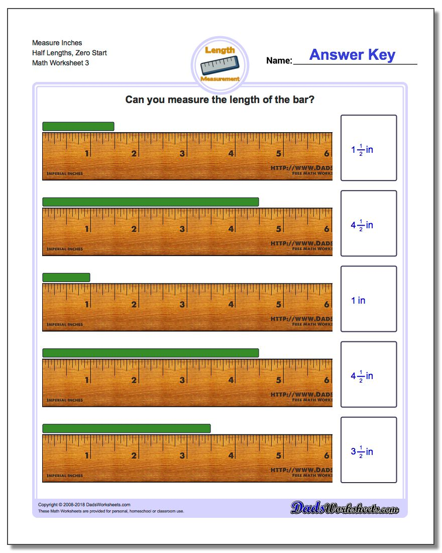 Measure Inches Half Lengths, Zero Start Worksheet