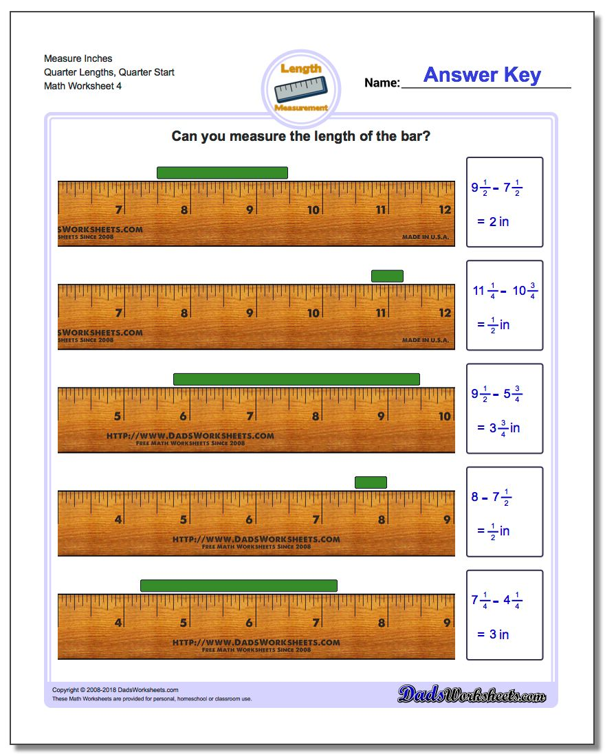 Measure Inches Quarter Lengths, Quarter Start Worksheet