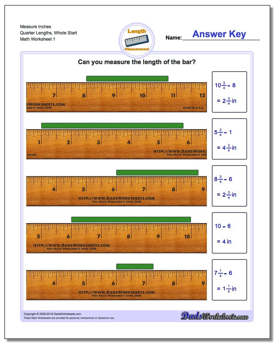Inches Measurement Worksheet Measure Quarter Lengths, Whole Start