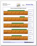 Measure Inches Quarter Lengths, Whole Start Worksheet