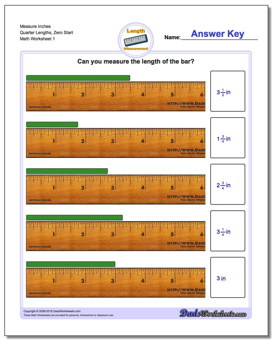 Inches Measurement Worksheets Measure Quarter Lengths, Zero Start