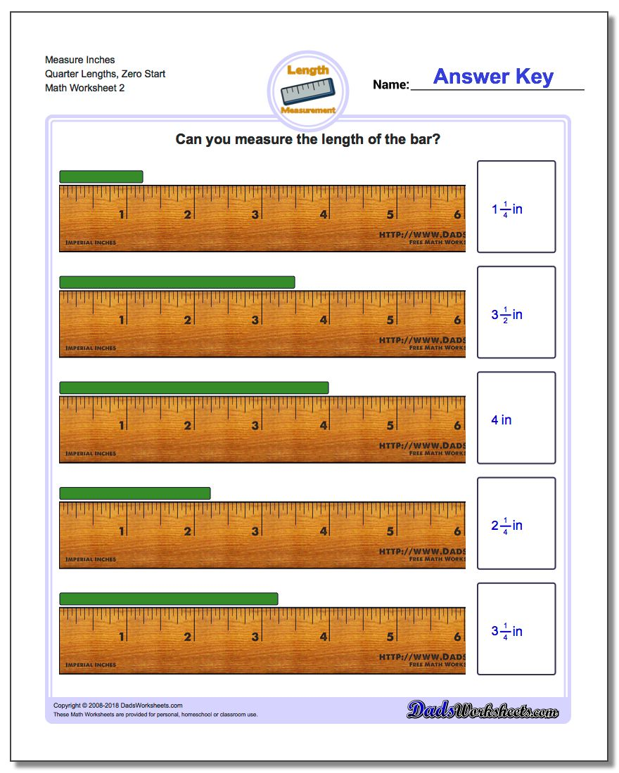 Measure Inches Quarter Lengths, Zero Start www.dadsworksheets.com/worksheets/inches-measurement.html Worksheet