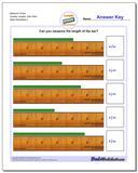 Measure Inches Quarter Lengths, Zero Start Worksheet