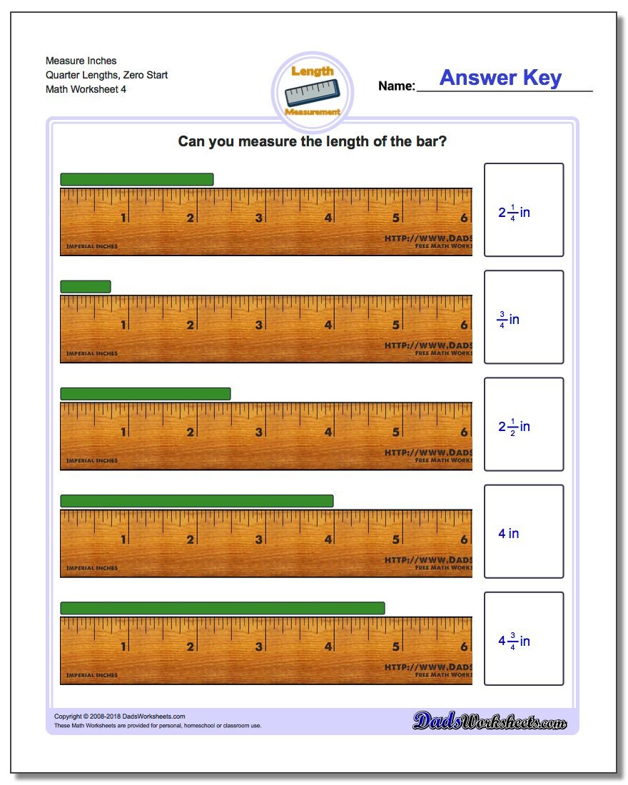 Measure Inches Quarter Lengths, Zero Start Worksheet