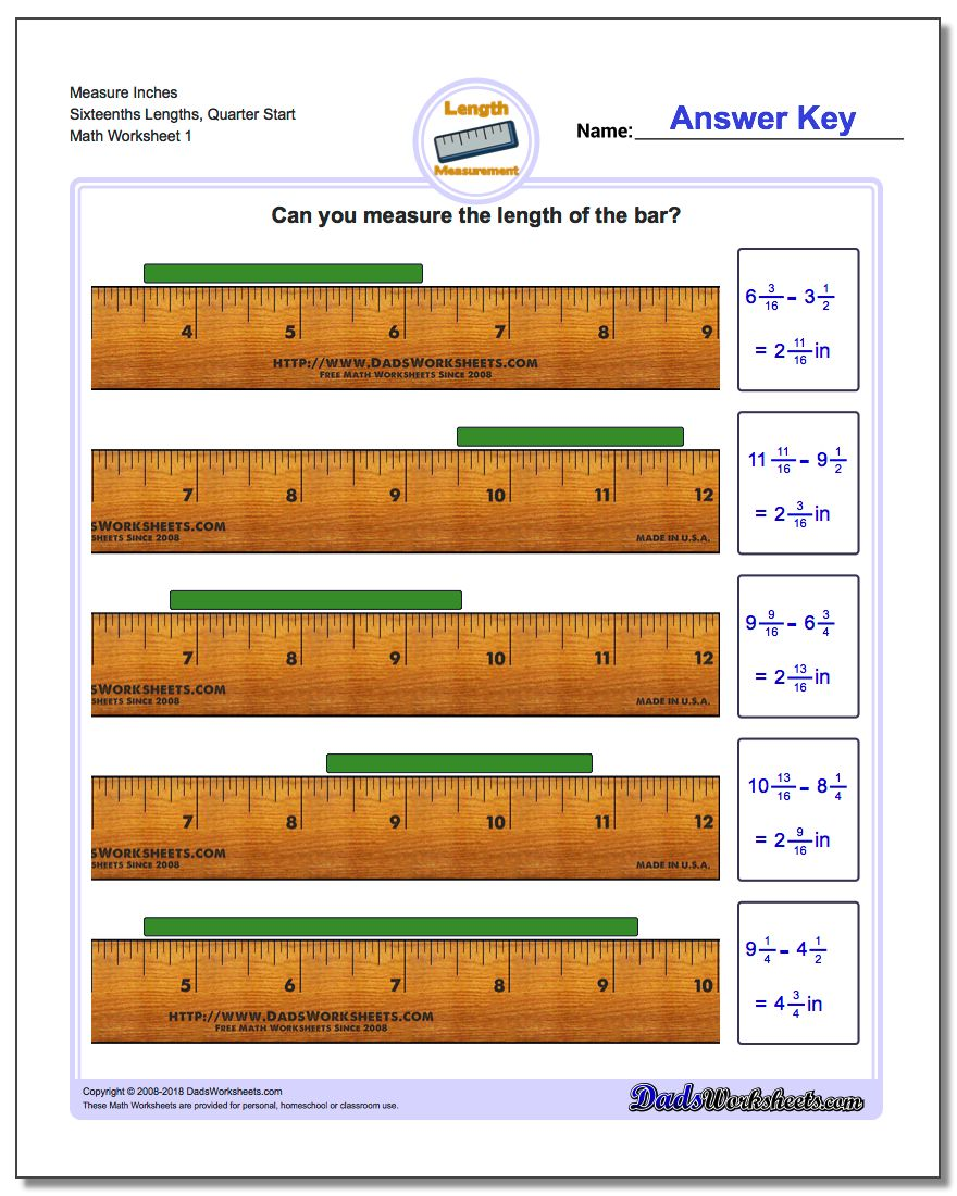 worksheet Measurement In Inches Worksheets measure inches from quarter measurement worksheet sixteenths lengths start