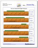 Measure Inches Sixteenths Lengths, Quarter Start Worksheet