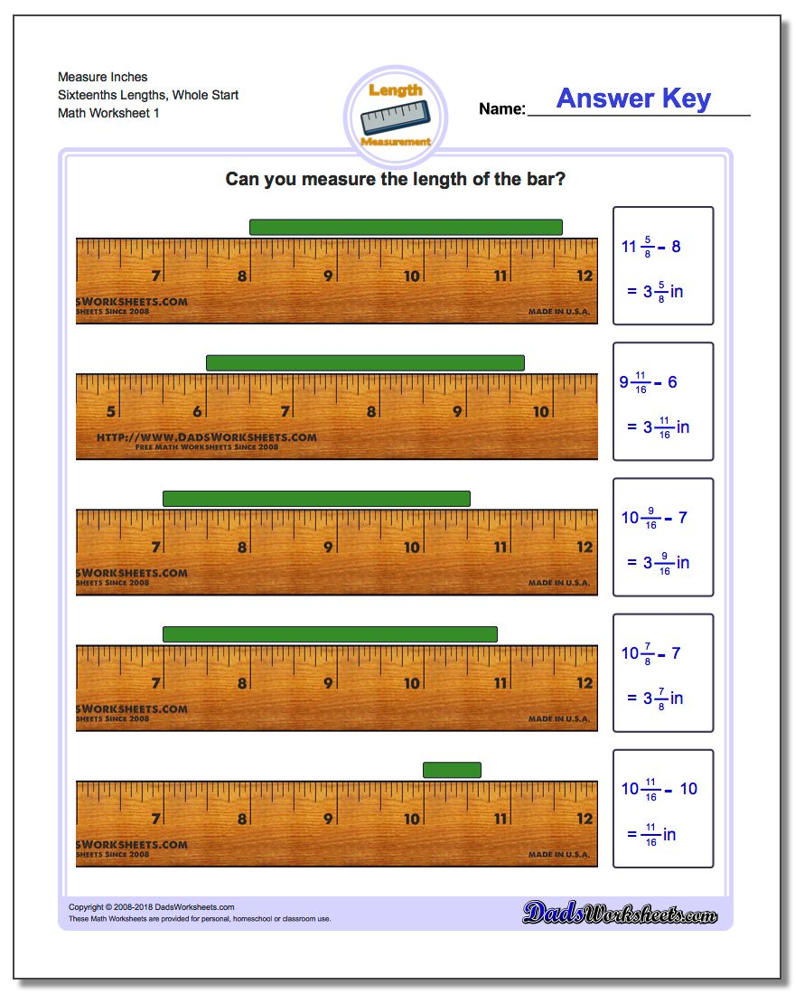 Inches Measurement Worksheet Measure Sixteenths Lengths, Whole Start
