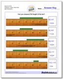 Measure Inches Sixteenths Lengths, Whole Start Worksheet