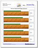 Measure Inches Sixteenths Lengths, Zero Start Worksheet