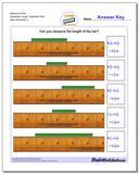 Measure Inches Sixteenths Length, Sixteenths Start Worksheet