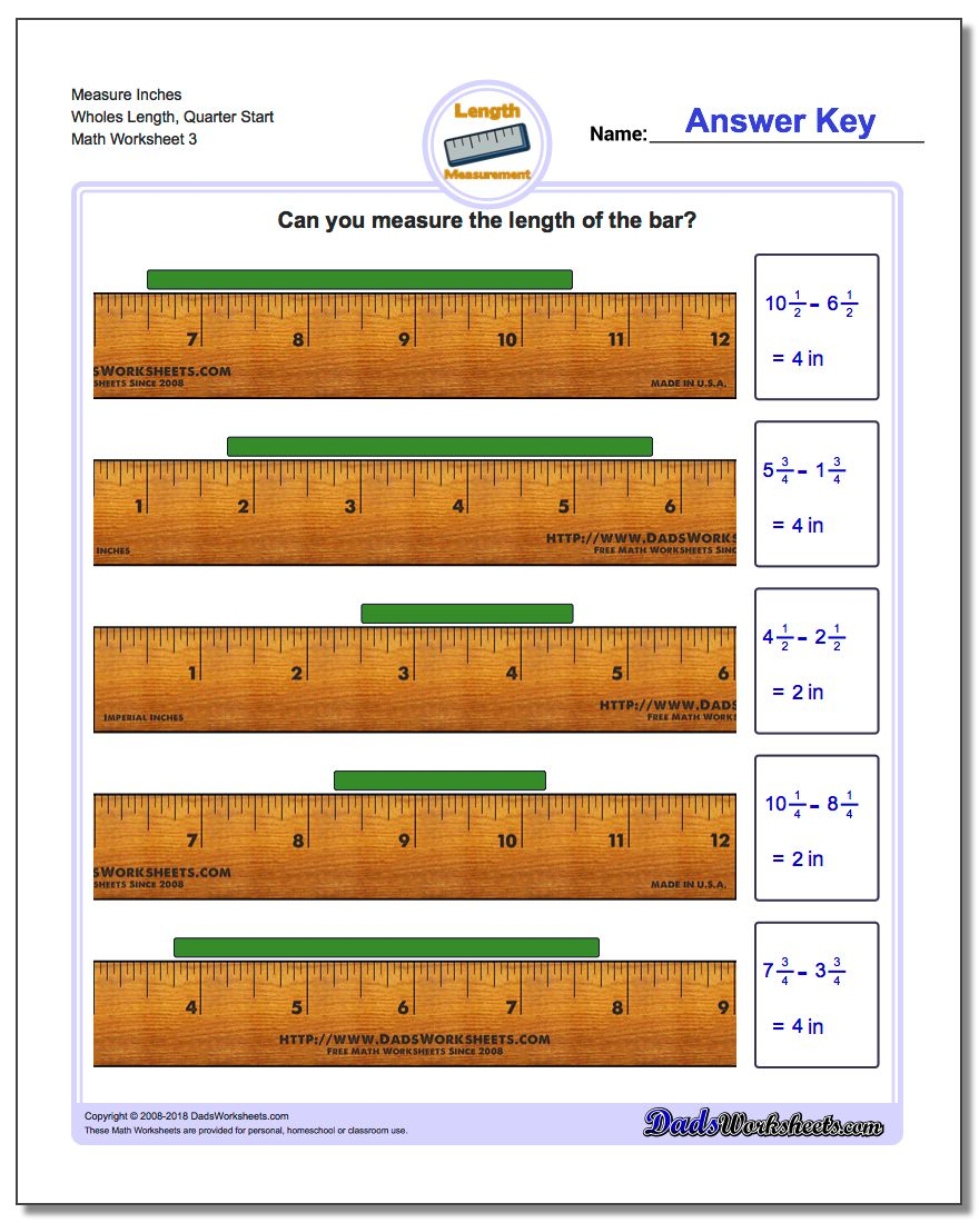 Measure Inches Wholes Length, Quarter Start Worksheet #Inches #Measurement #Worksheet