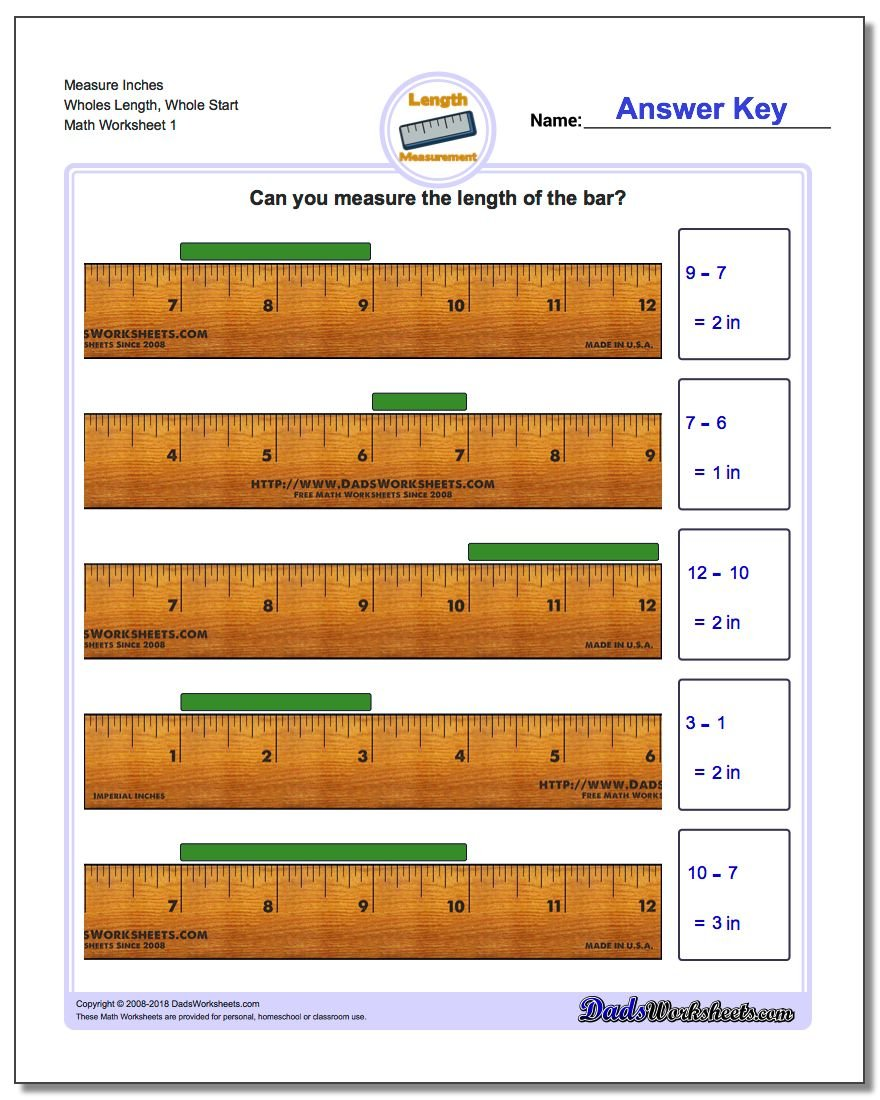 Inches Measurement Worksheet Measure Wholes Length, Whole Start