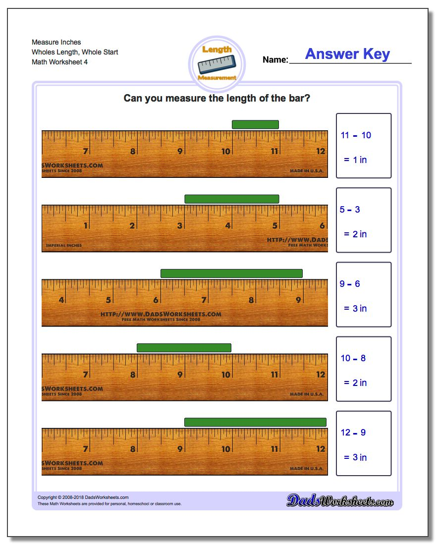 Measure Inches Wholes Length, Whole Start Worksheet