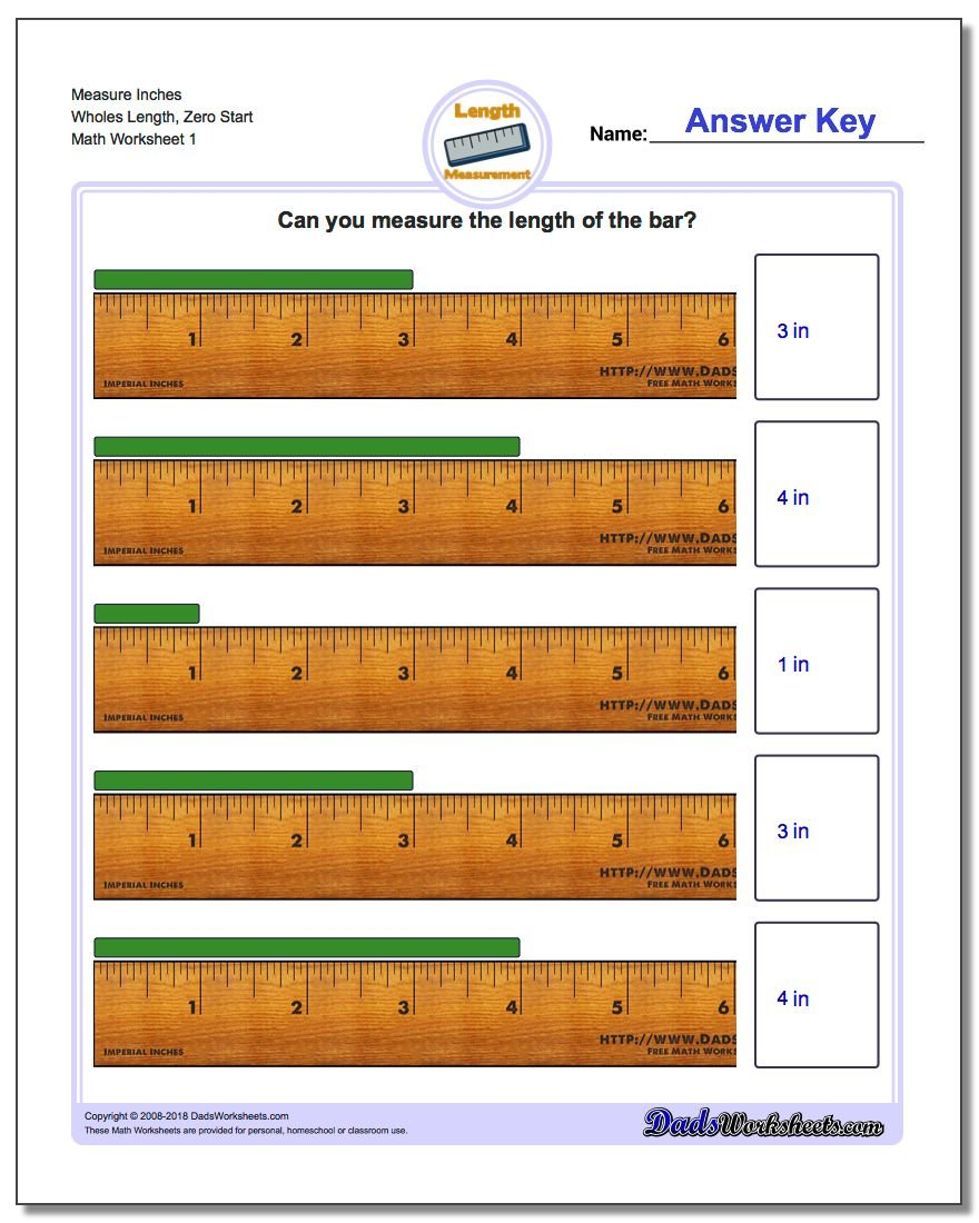 Inches Measurement Worksheet Measure Wholes Length, Zero Start