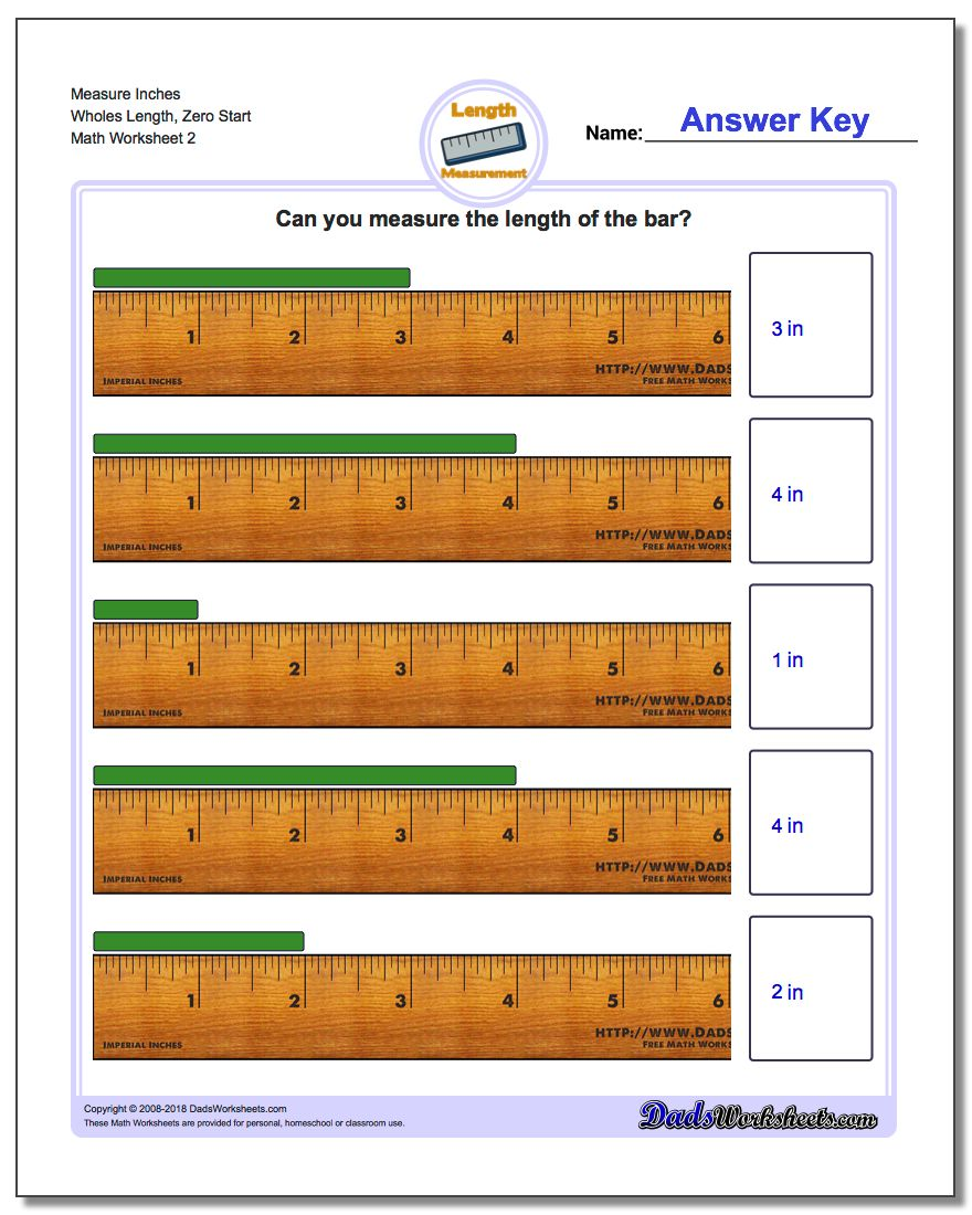 Measure Inches Wholes Length, Zero Start www.dadsworksheets.com/worksheets/inches-measurement.html Worksheet