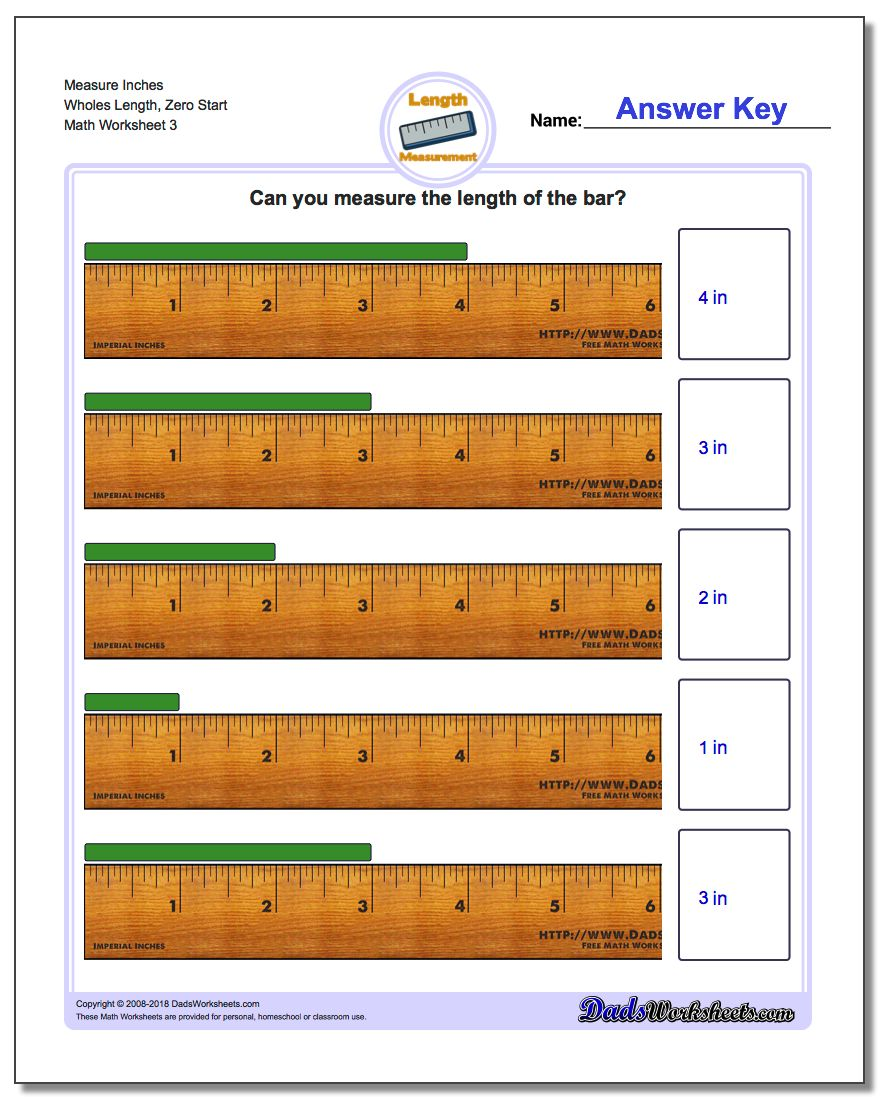Measure Inches Wholes Length, Zero Start Worksheet
