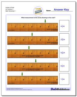 Inches Measurement Worksheet on Ruler All Fraction Worksheets 1