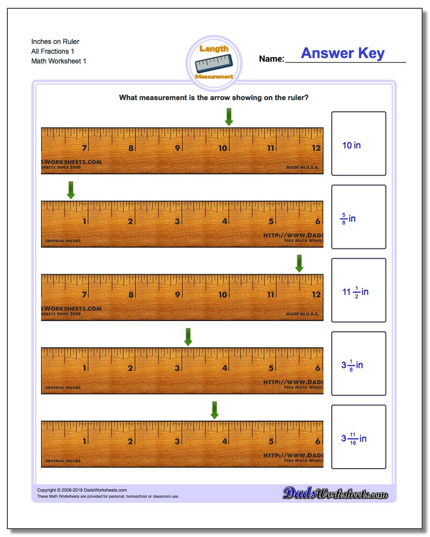 Inches Measurement Worksheet on Ruler All Fraction Worksheets 1
