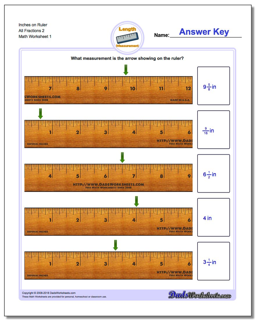 Inches Measurement Worksheet on Ruler All Fraction Worksheets 2