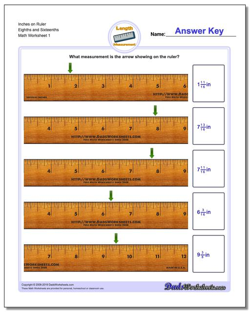 Inches Measurement Worksheets on Ruler Eighths and Sixteenths