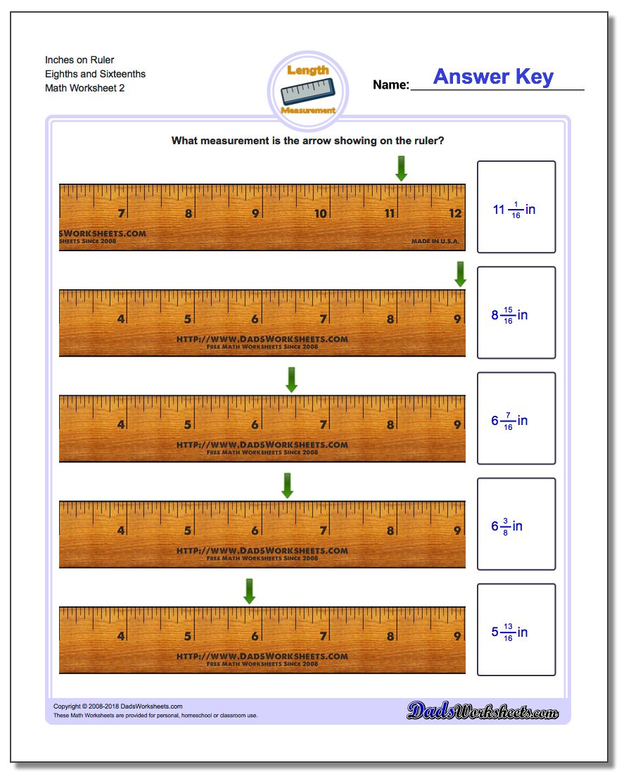 Inches on Ruler Eighths and Sixteenths www.dadsworksheets.com/worksheets/inches-measurement.html Worksheet