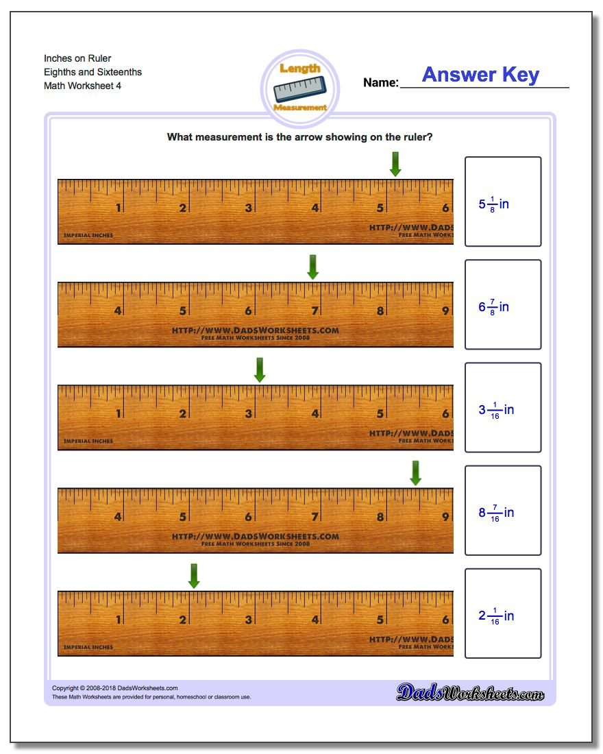 Inches on Ruler Eighths and Sixteenths Worksheet