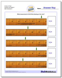 Inches Measurement Worksheet on Ruler Quarters and Eighths 1