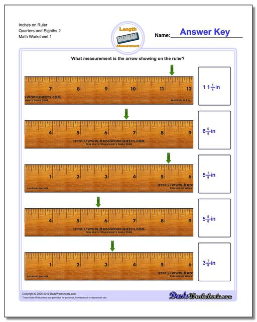Inches Measurement Worksheets on Ruler Quarters and Eighths 2