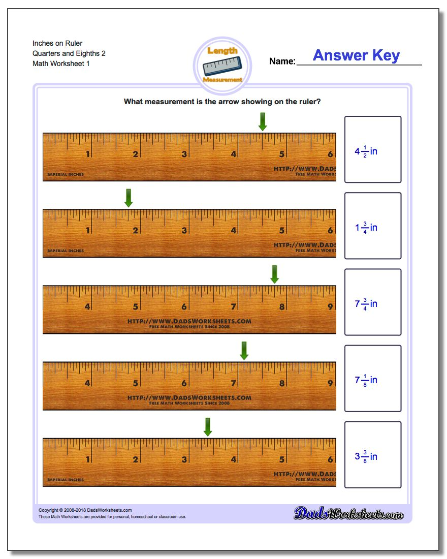 Inches Measurement Worksheet on Ruler Quarters and Eighths 2
