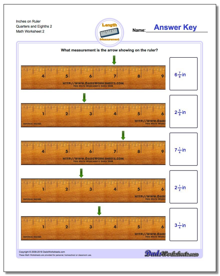 Inches on Ruler Quarters and Eighths 2 www.dadsworksheets.com/worksheets/inches-measurement.html Worksheet