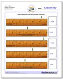 Inches on Ruler Quarters and Eighths 2 Worksheet