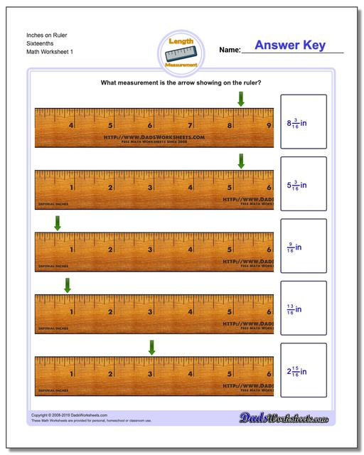 Inches Measurement Worksheets on Ruler Sixteenths