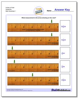Inches Measurement Worksheet on Ruler Sixteenths